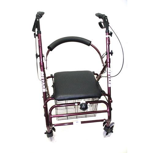 Andador con asiento, ruedas, canasto y frenos